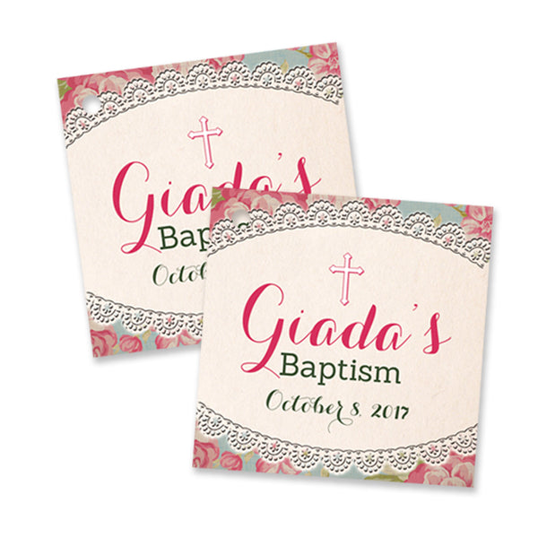 """Giada"" Vintage Rose Baptism Favor Tags"