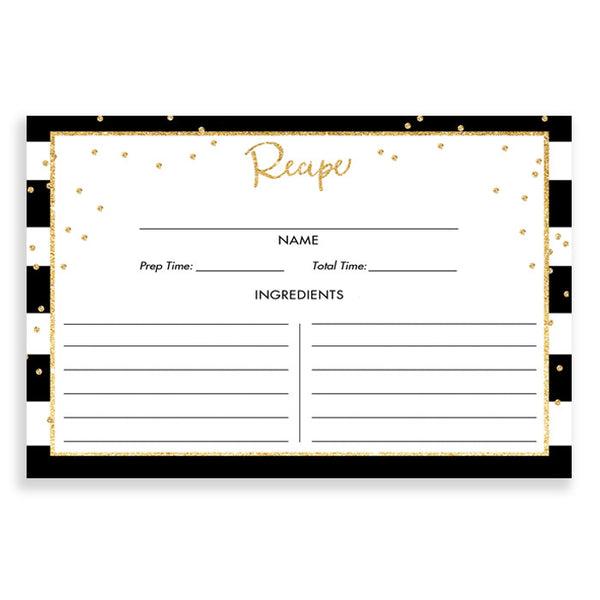 Black Stripe + Gold Glitter Recipe Cards Gift Set |  Blake