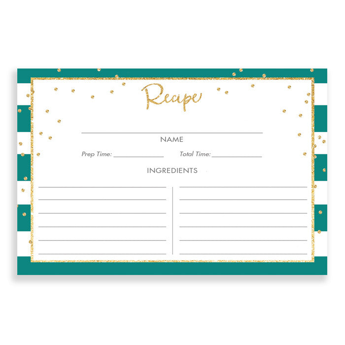 Emerald Stripe + Gold Glitter Recipe Cards Gift Set |  Blake