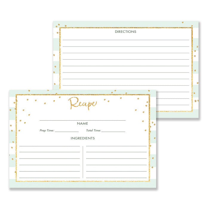 Mint Stripe + Gold Glitter Recipe Cards Gift Set |  Blake