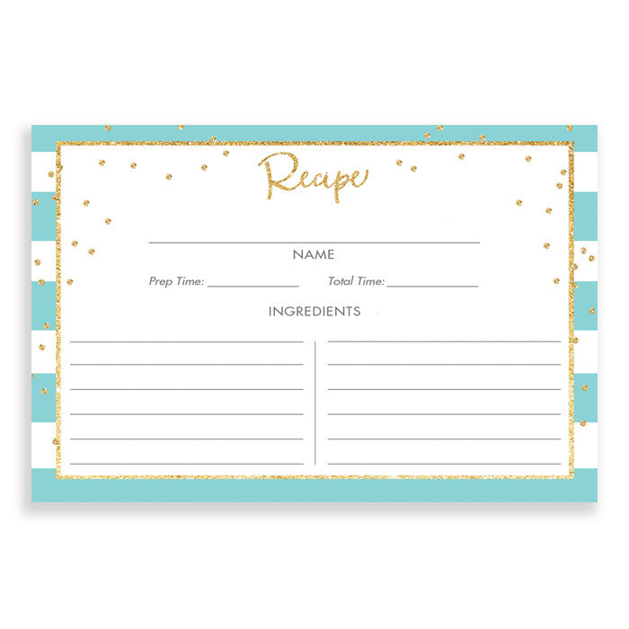 Sea Glass Stripe + Gold Glitter Recipe Cards Gift Set |  Blake