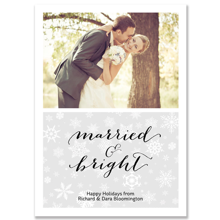 Gray and White Snowflake Newlywed Photo Card | Bloomington