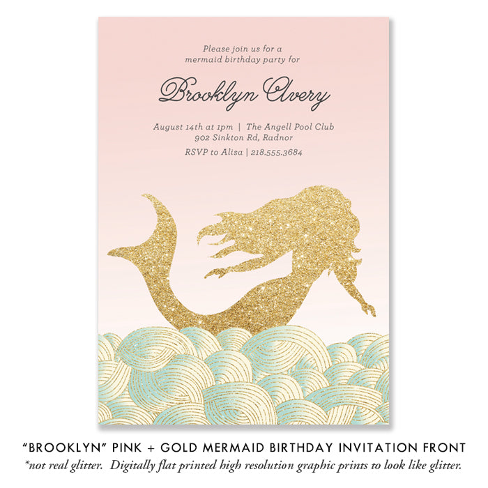 """Brooklyn"" Pink + Gold Mermaid Kids Birthday Party Invitation"