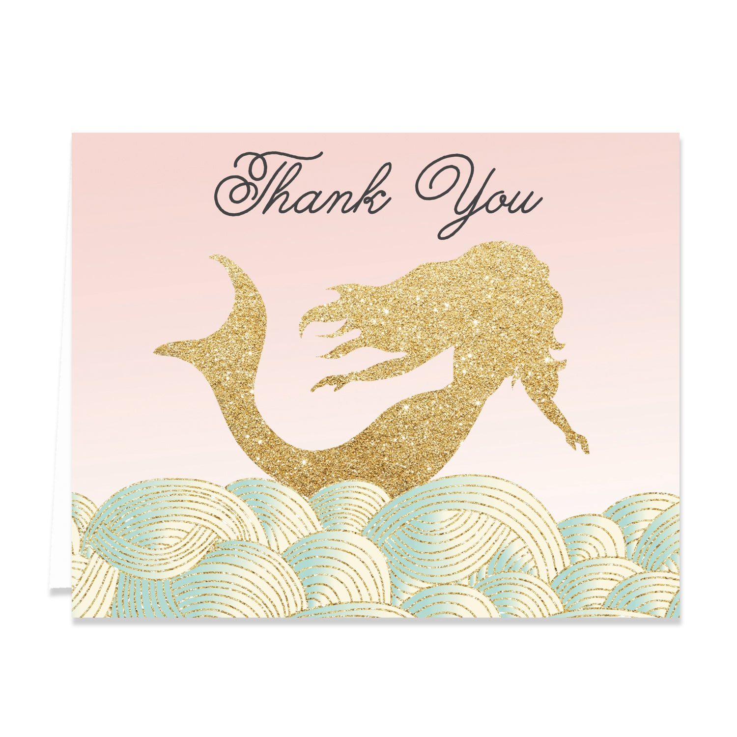 """Brooklyn"" Pink + Gold Mermaid Thank You Card"