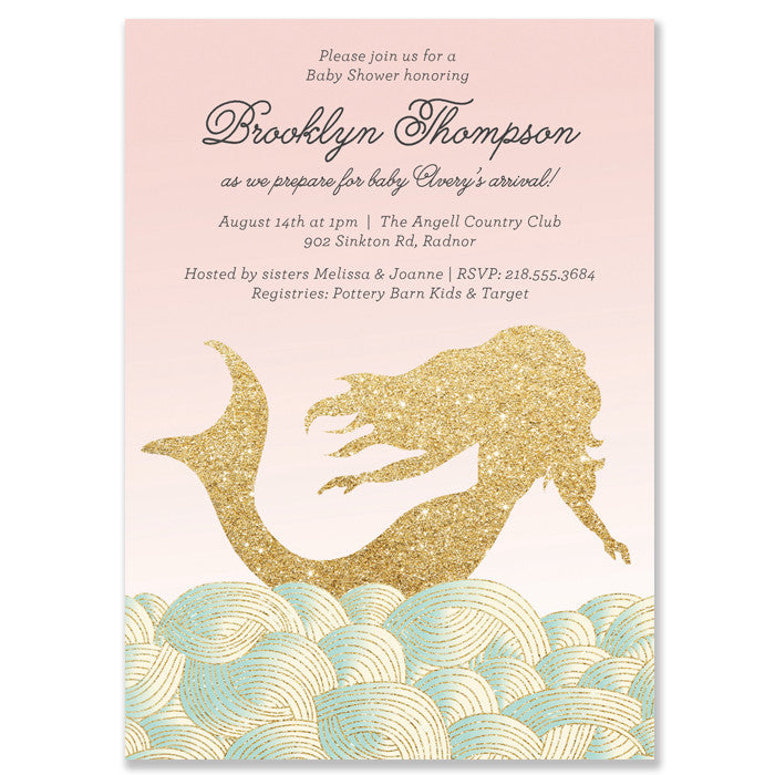 Mermaid Baby Girl Shower Invitation
