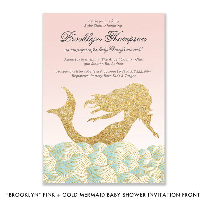 """Brooklyn"" Pink + Gold Mermaid Baby Shower Invitation"