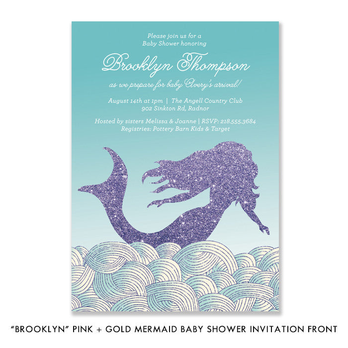 """Brooklyn"" Teal + Purple Mermaid Baby Shower Invitation"