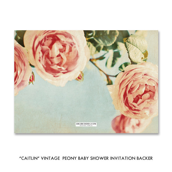 """Caitlin"" Vintage Peony Baby Shower Invitation"