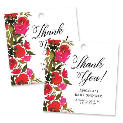 Red Roses Baby Shower Favor Tags Coll. 1B