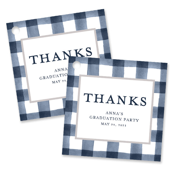 Navy Gingham Graduation Favor Tags Coll. 3