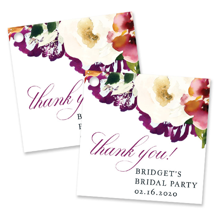 Romantic Floral Bridal Shower Favor Tags Coll. 6