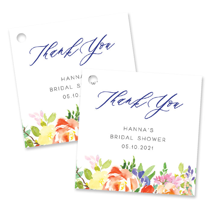 Bright Watercolor Floral Bridal Shower Favor Tags Coll. 9