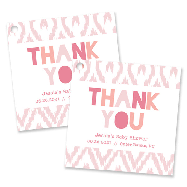 Pink Baby Shower Favor Tags