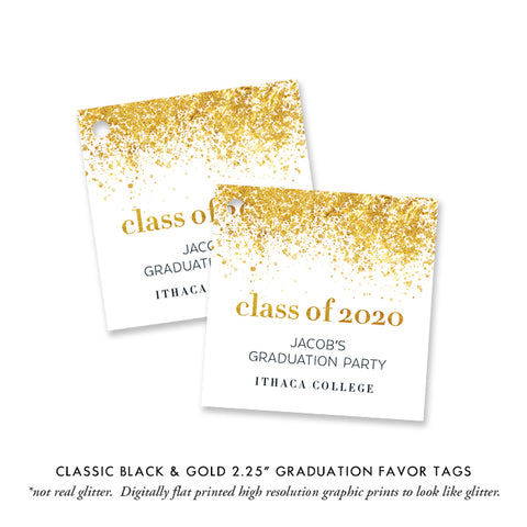 Classic Black & Gold Graduation Favor Tags Coll. 25