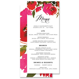 Red Roses Bachelorette Party Menu Coll. 1B