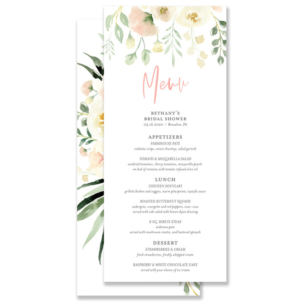 Floral + Greenery Bridal Shower Menu Coll. 2