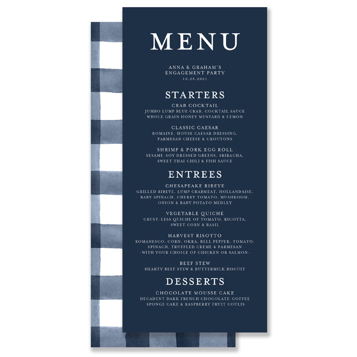 Navy Gingham Plaid Menu