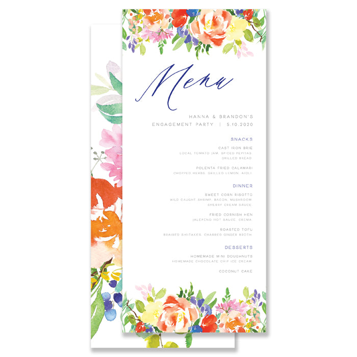 Bright Watercolor Floral Rehearsal Dinner Menu Coll. 9