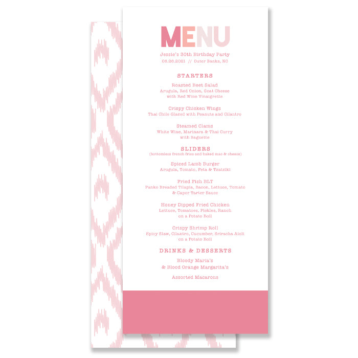Blush Ikat Menu Coll. 12