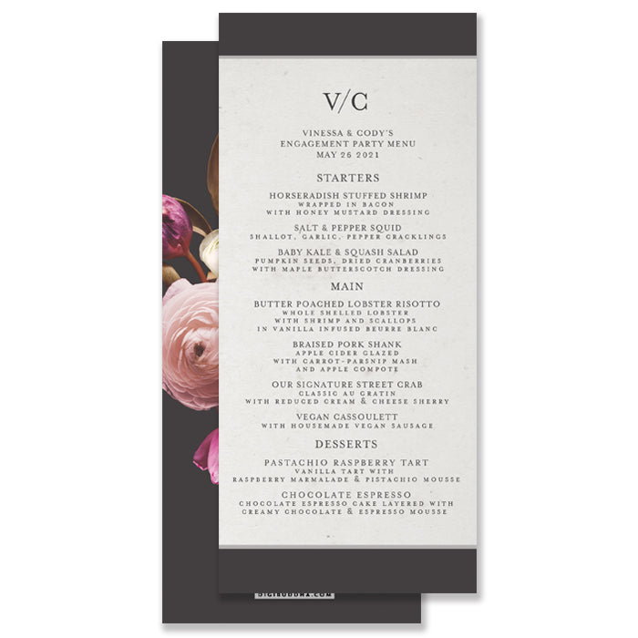Vintage Floral Wedding Menu