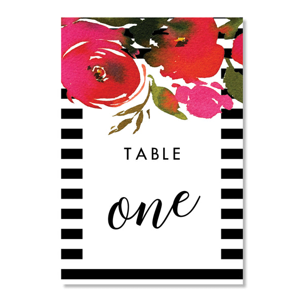 Red Roses & Black Stripes Table Numbers | Coll. 1B