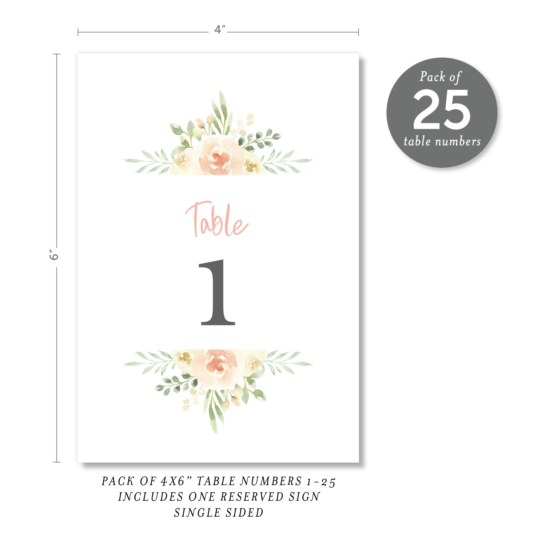 Floral + Greenery Table Numbers | Coll. 2