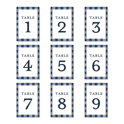 Navy Gingham Table Numbers | Coll. 3