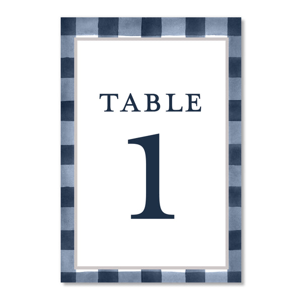 Plaid Table Number Cards