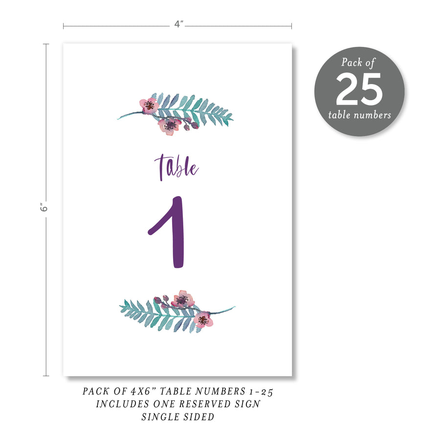 Purple Watercolor Florals Table Numbers | Coll. 4