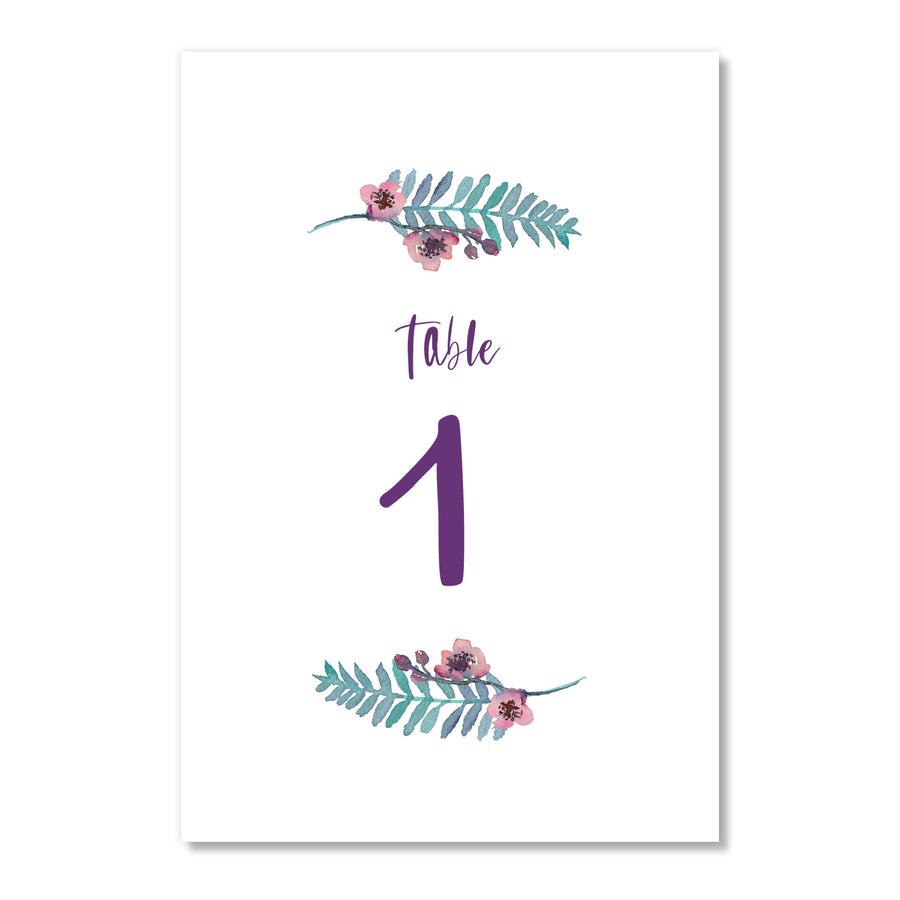 Purple Floral Table Numbers