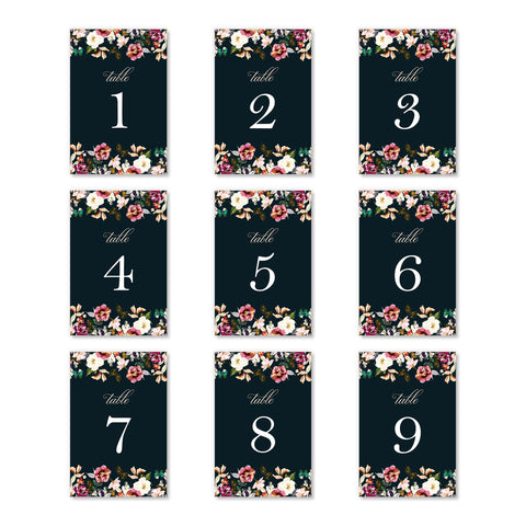 Rustic Floral Table Numbers