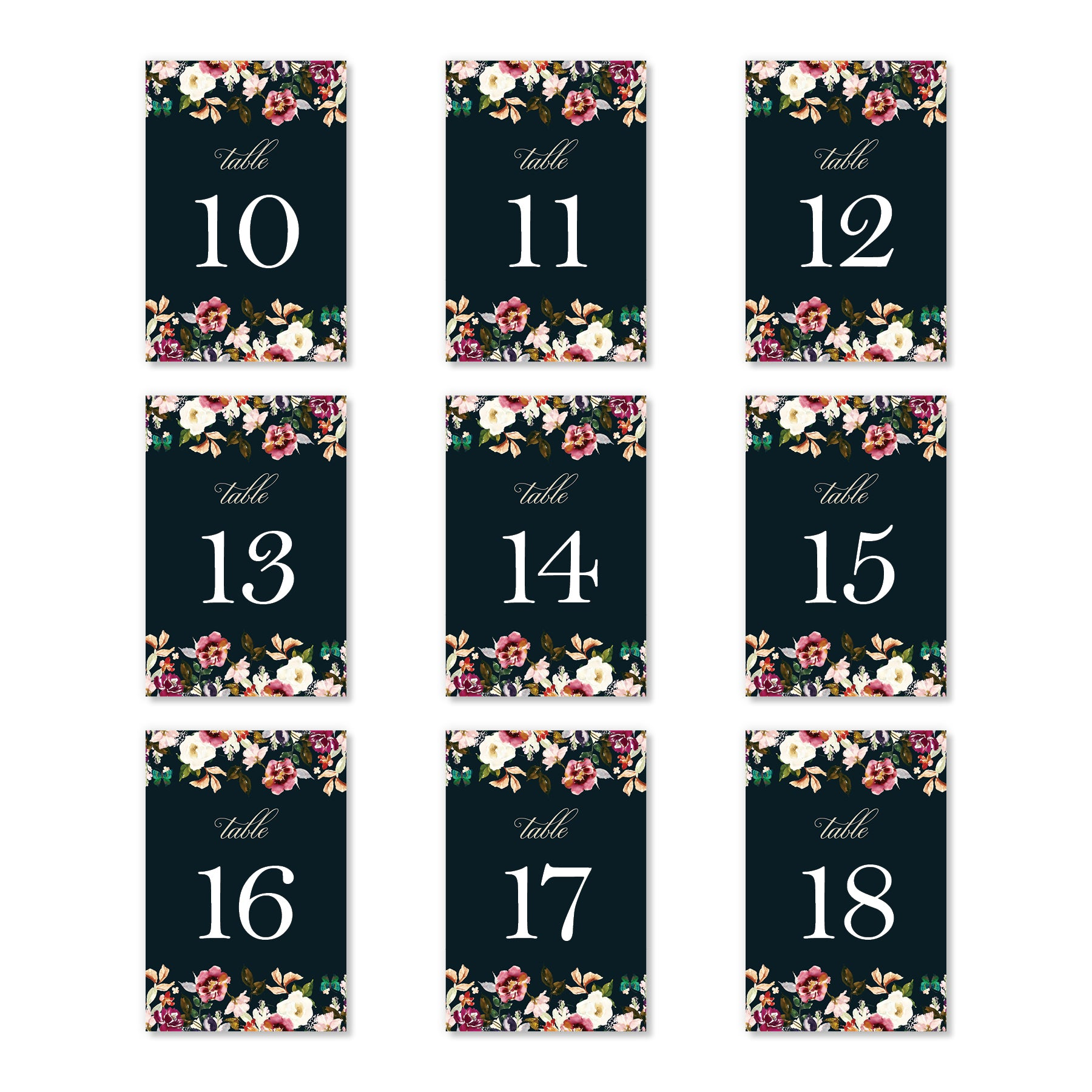 Pack of 25 Table Numbers