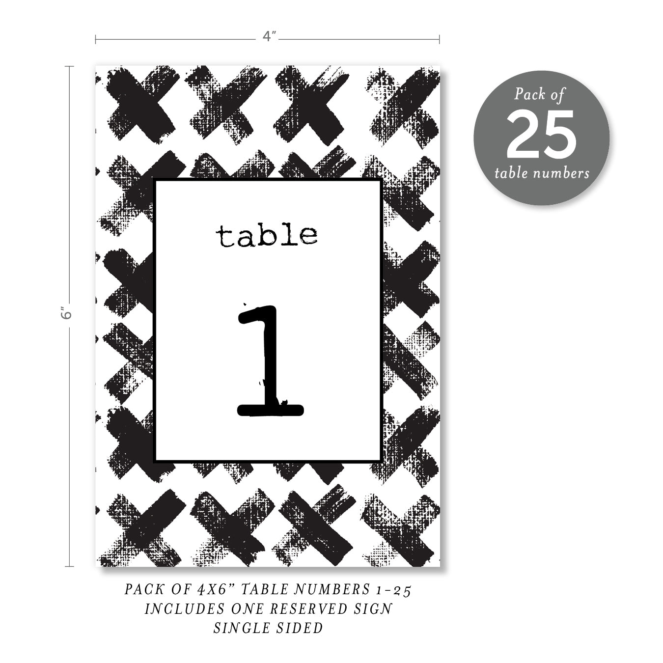 Edgy Black & White Table Numbers | Coll. 7
