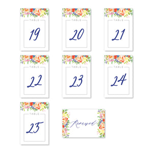 Bright Watercolor Floral Table Numbers | Coll. 9