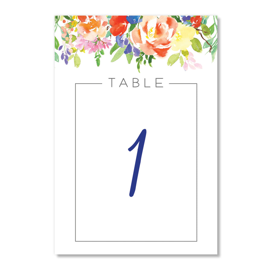 Floral Table Number Cards