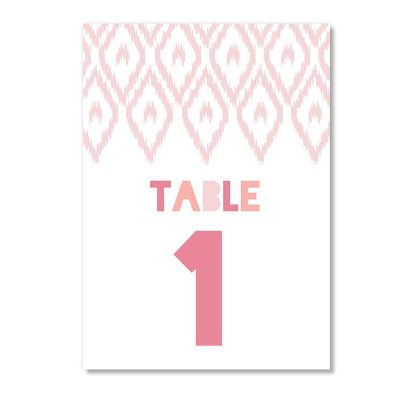 Blush Pink Table Number Cards