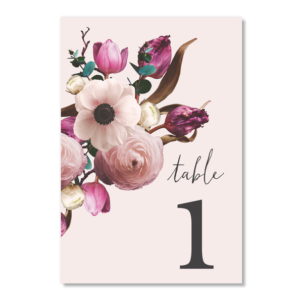 Vintage Purple Floral Table Numbers | Coll. 17