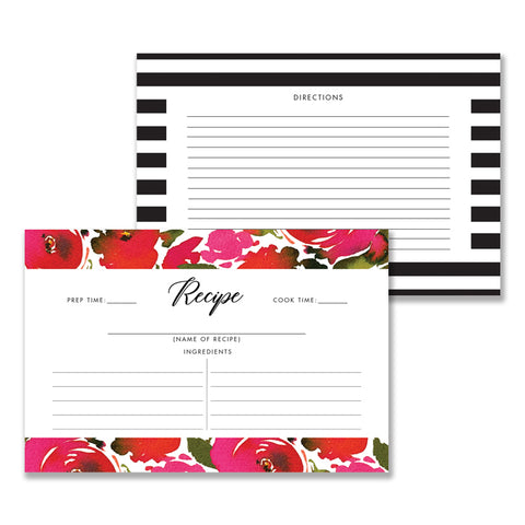 Red Roses & Black Stripes Recipe Cards Gift Set  |  Coll. 1B