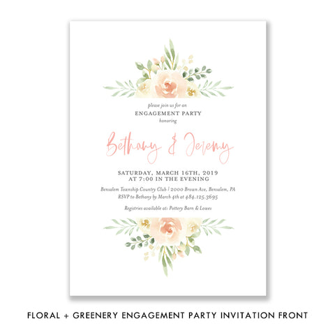 Floral + Greenery Engagement Party Invitation Coll. 2