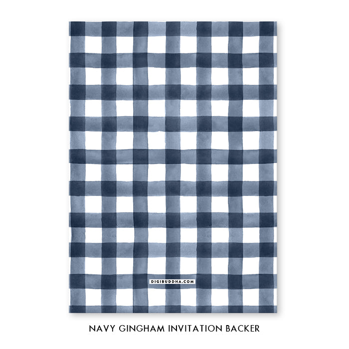 Navy Gingham Engagement Party Invitation Coll. 3