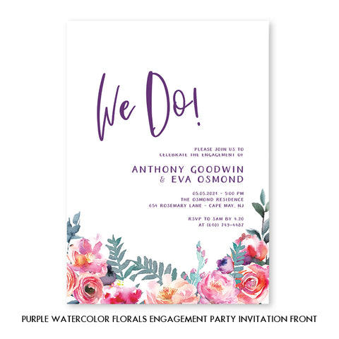 Purple Watercolor Florals Engagement Party Invitation Coll. 4