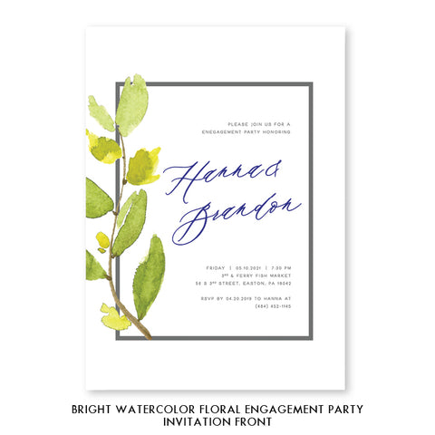 Bright Watercolor Floral Engagement Party Invitation Coll. 9