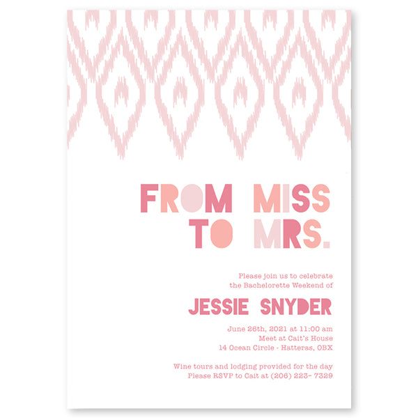 From Miss to Mrs Bachelorette Party Invitation