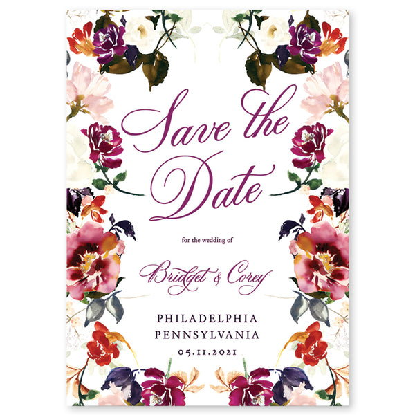 Romantic Floral Save The Date Invitation Coll. 6