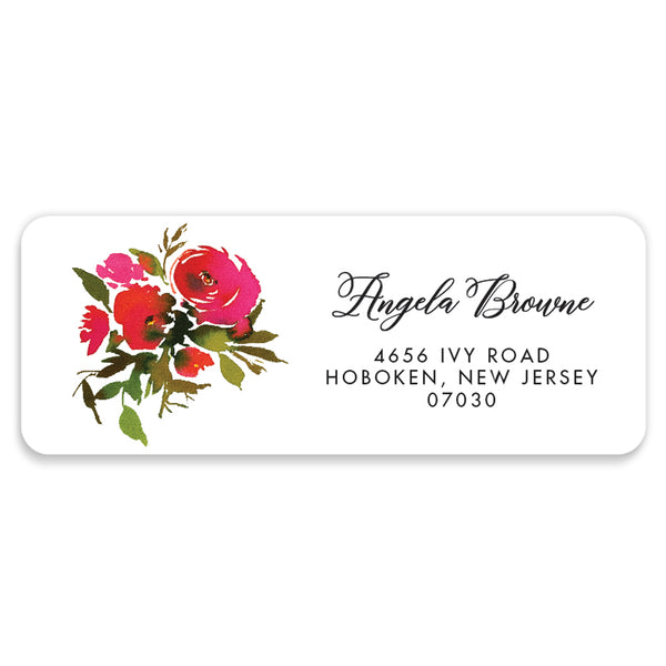 Red Roses Address Labels