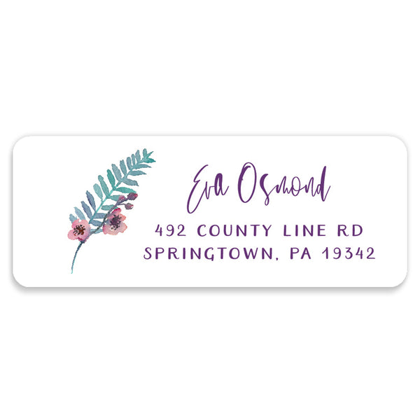Purple Watercolor Florals Address Labels | Coll. 4