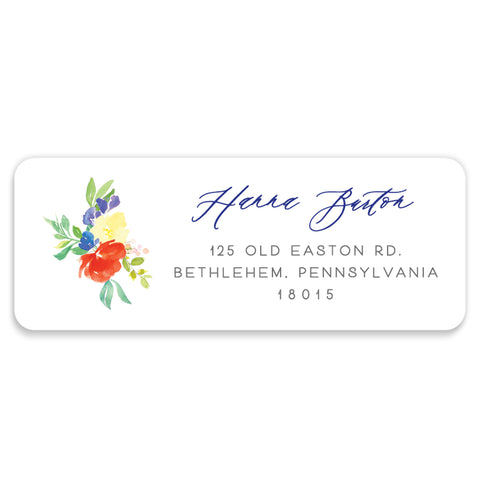 Bright Watercolor Floral Address Labels | Coll. 9