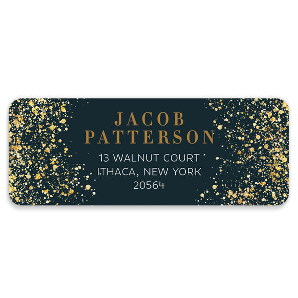 Classic Black & Gold Address Labels | Coll. 25