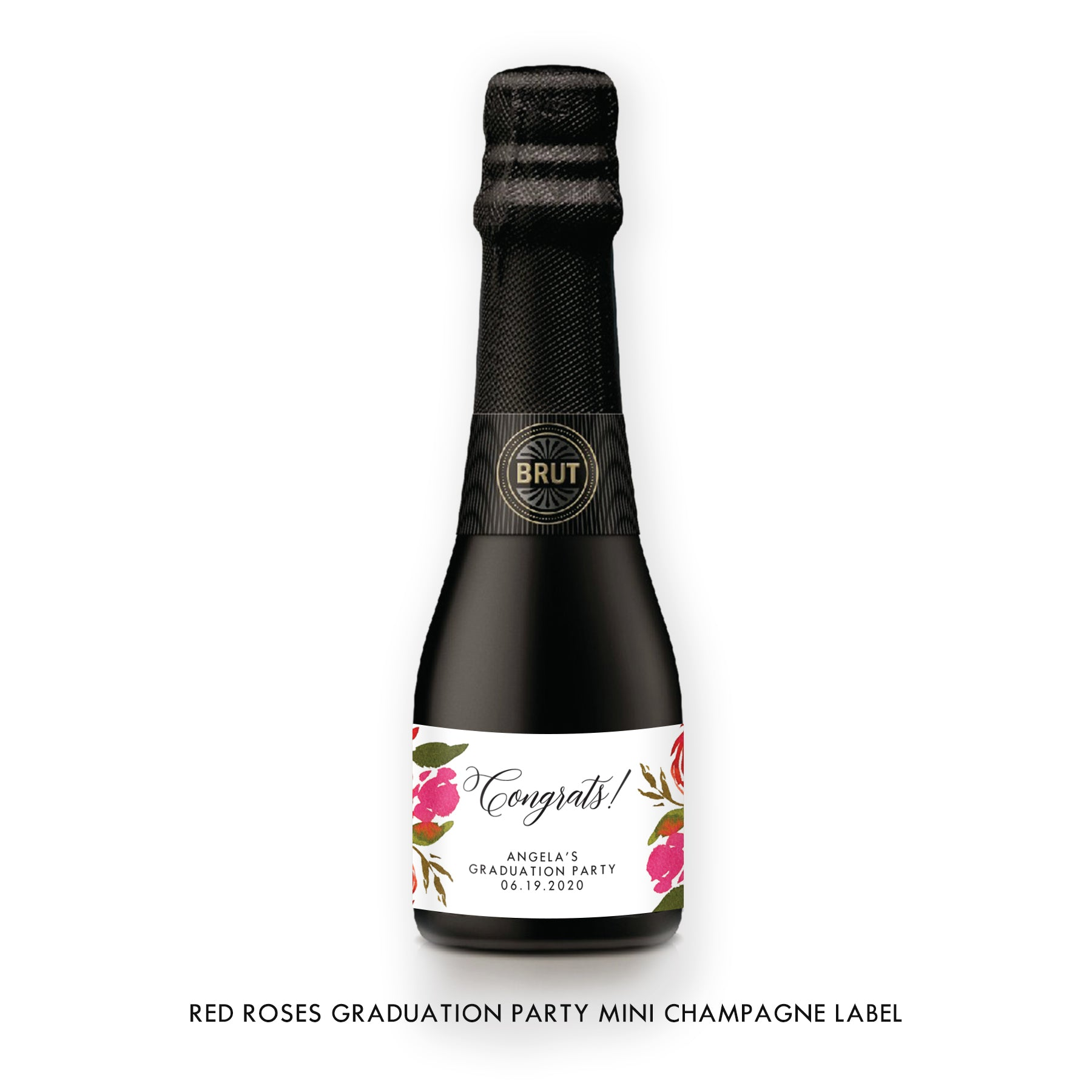Red Roses Graduation Champagne Labels Coll. 1B