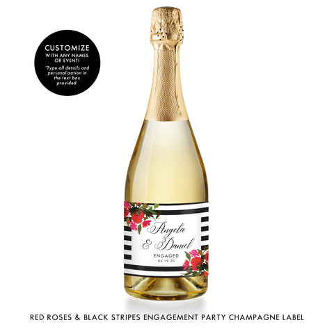 Red Roses & Black Stripes Engagement Champagne Labels Coll. 1B